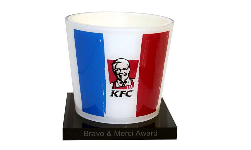 KFC Custom Lucite Bucket Award