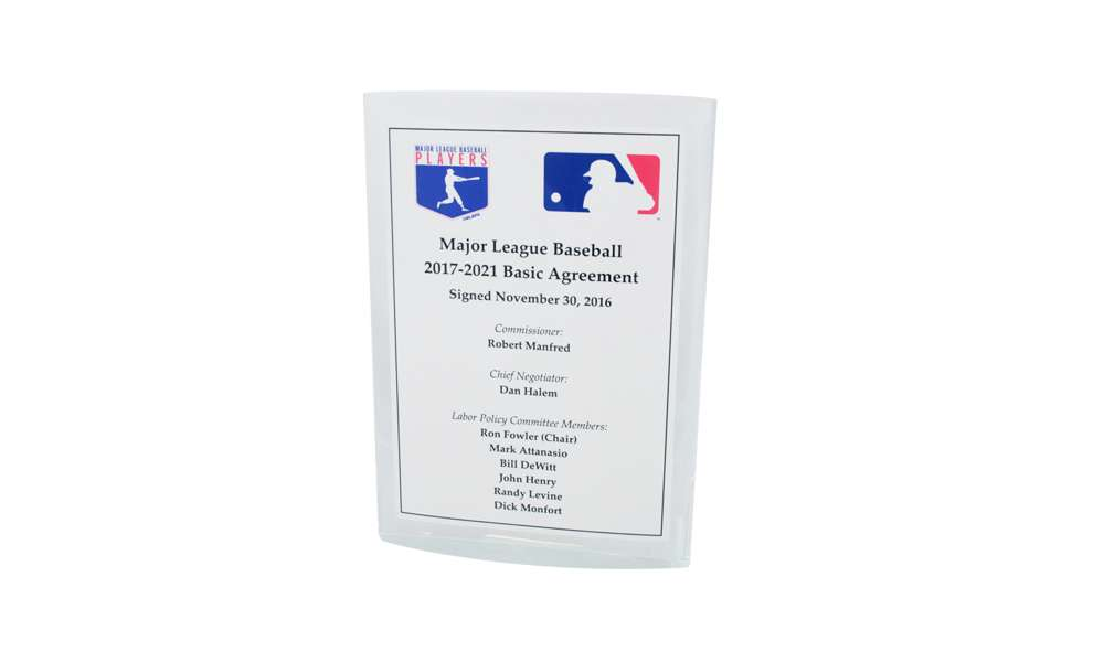 Custom Lucite Marking Major League Labor Agreement