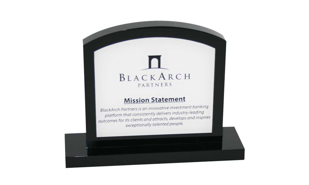 Custom Acrylic Mission Statement Display