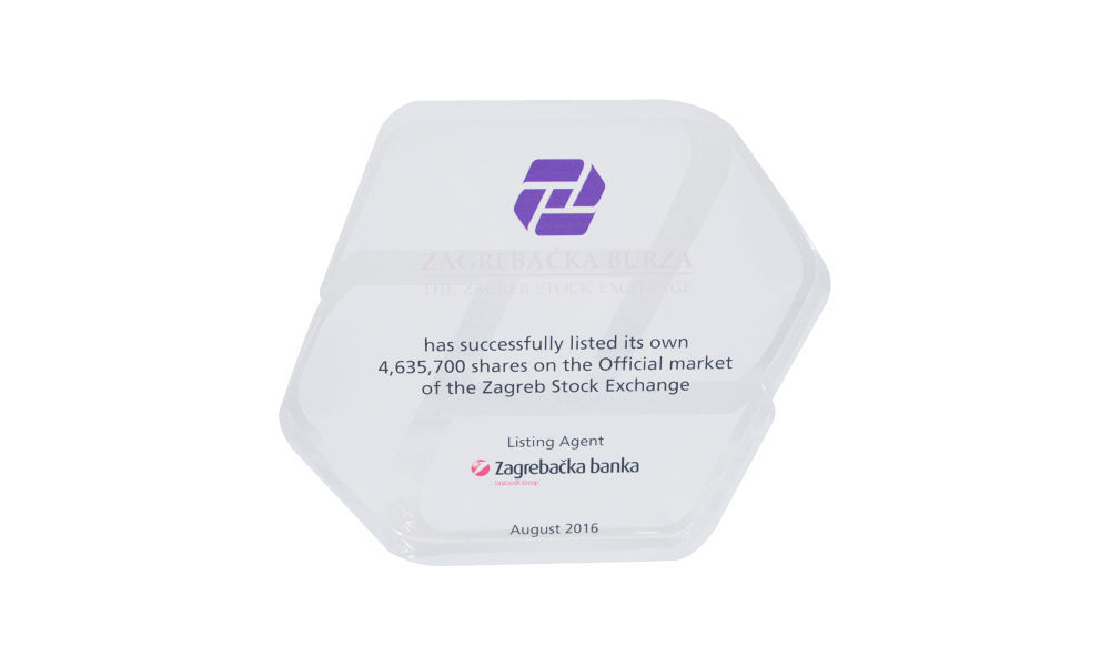 Custom Acrylic Award Honoring Stock Exchange Listing