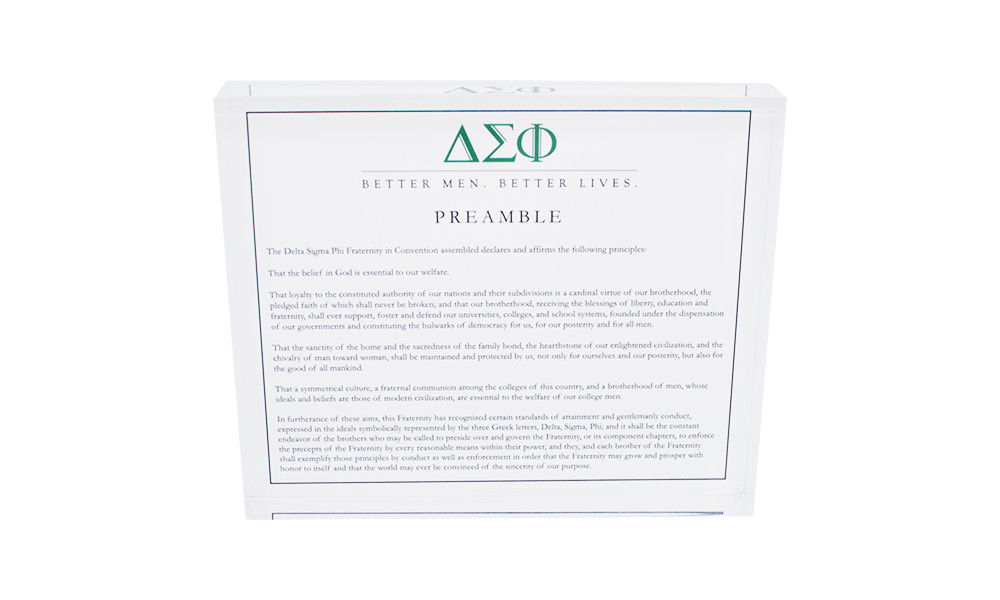 Delta Sigma Phi Fraternity Values Display
