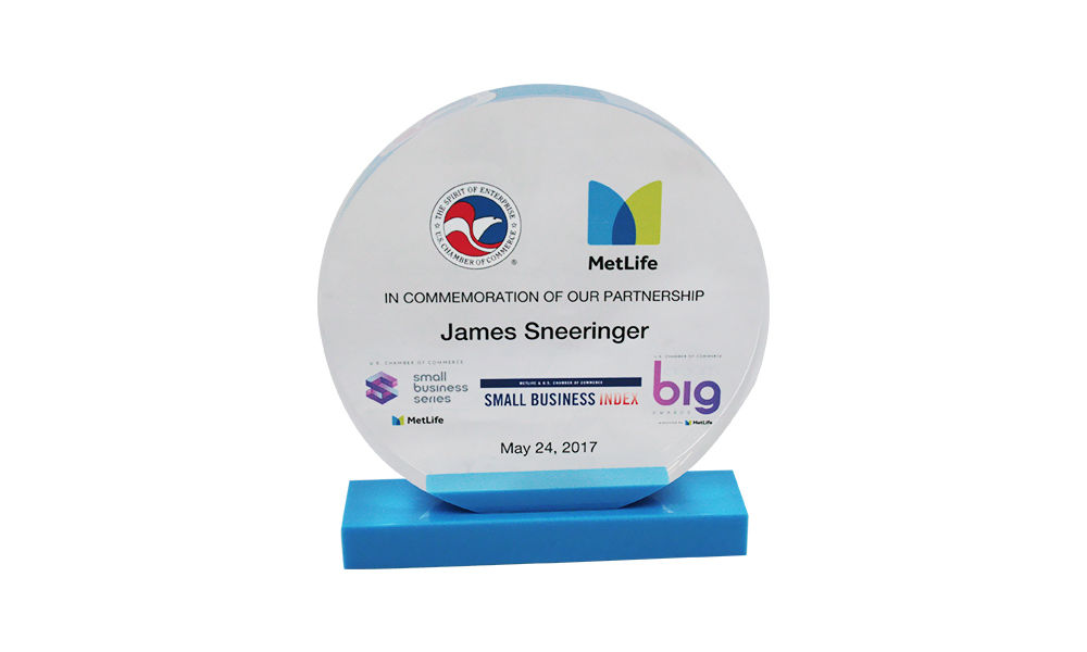 Custom Acrylic Award Commemorating MetLife-U.S. Chamber of Commerce Partnership
