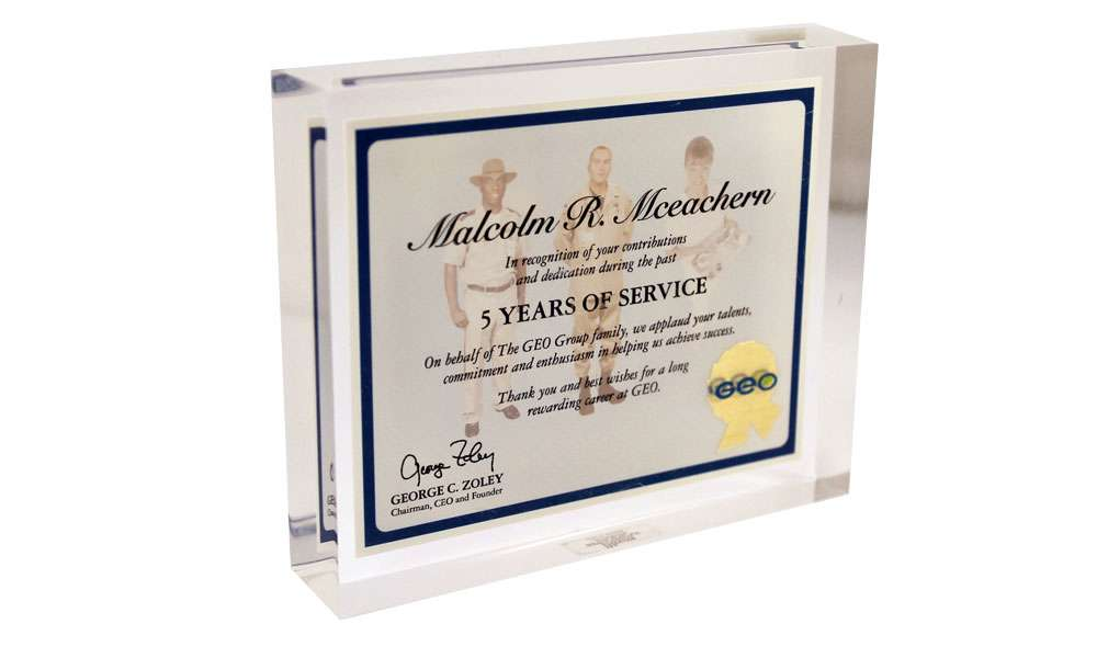 Custom Lucite Years of Service Award