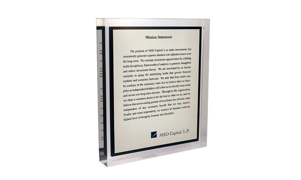 MSD Capital Acrylic Mission Statement Display
