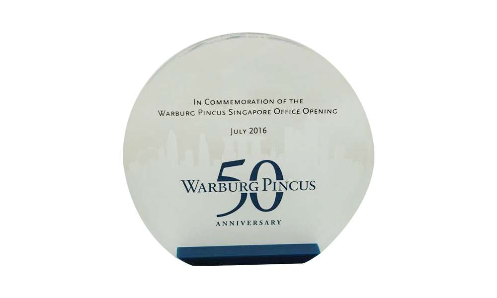 Custom Acrylic Marking Warburg Pincus 50th Anniversary