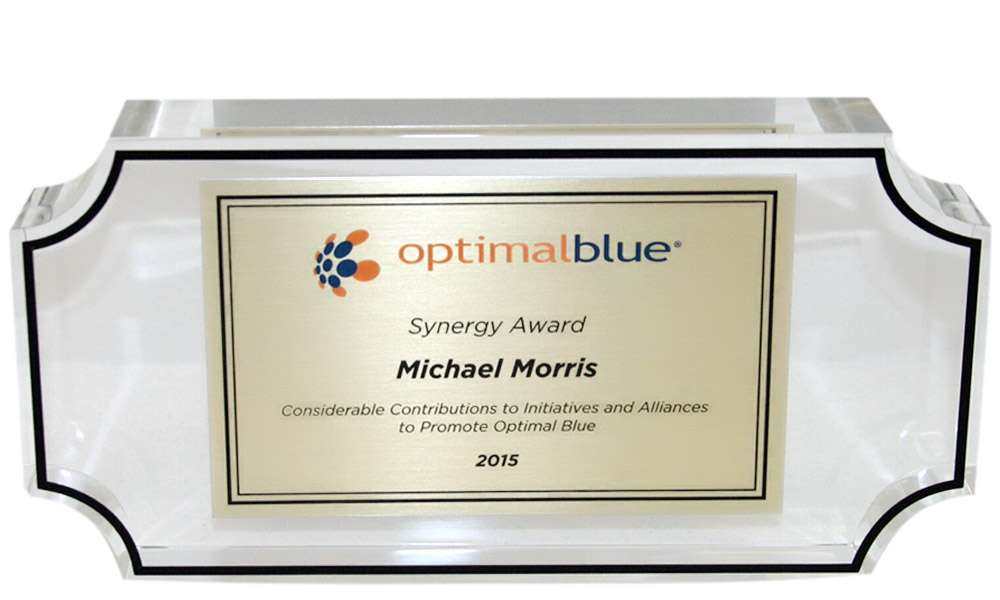 Optimal Blue Custom Acrylic Recognition Award