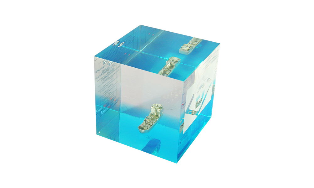 Lucite Cube with Pewter Container Ship