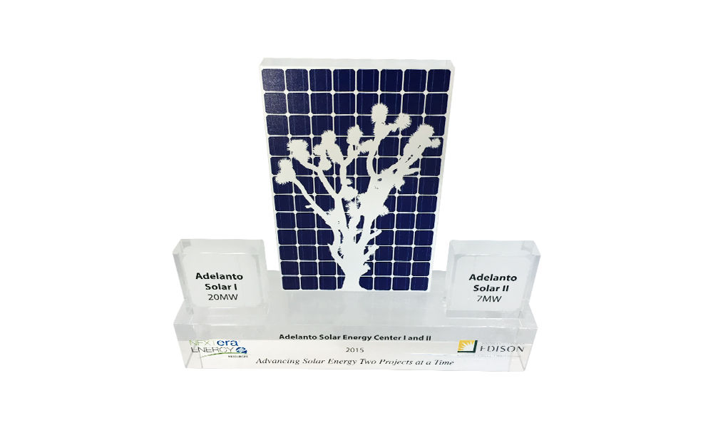 Custom Crystal Award Celebrating Operation of Solar Plants