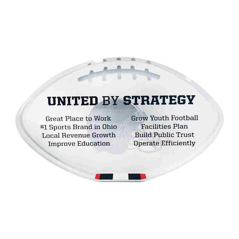 Cleveland Browns Football-Themed Crystal Mission Statement Display