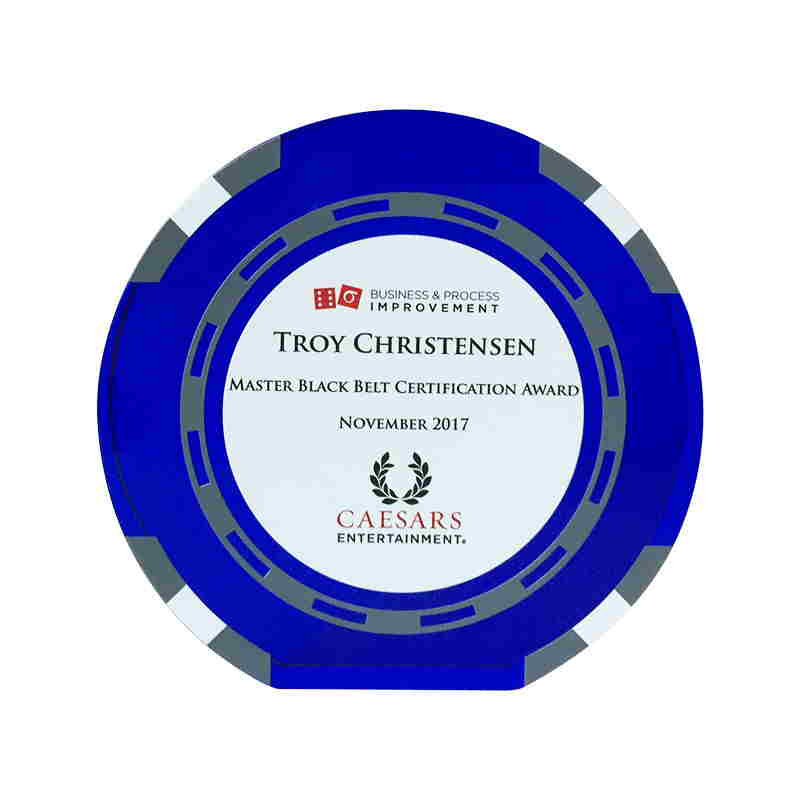 Casino Chip-Themed Custom Crystal Award