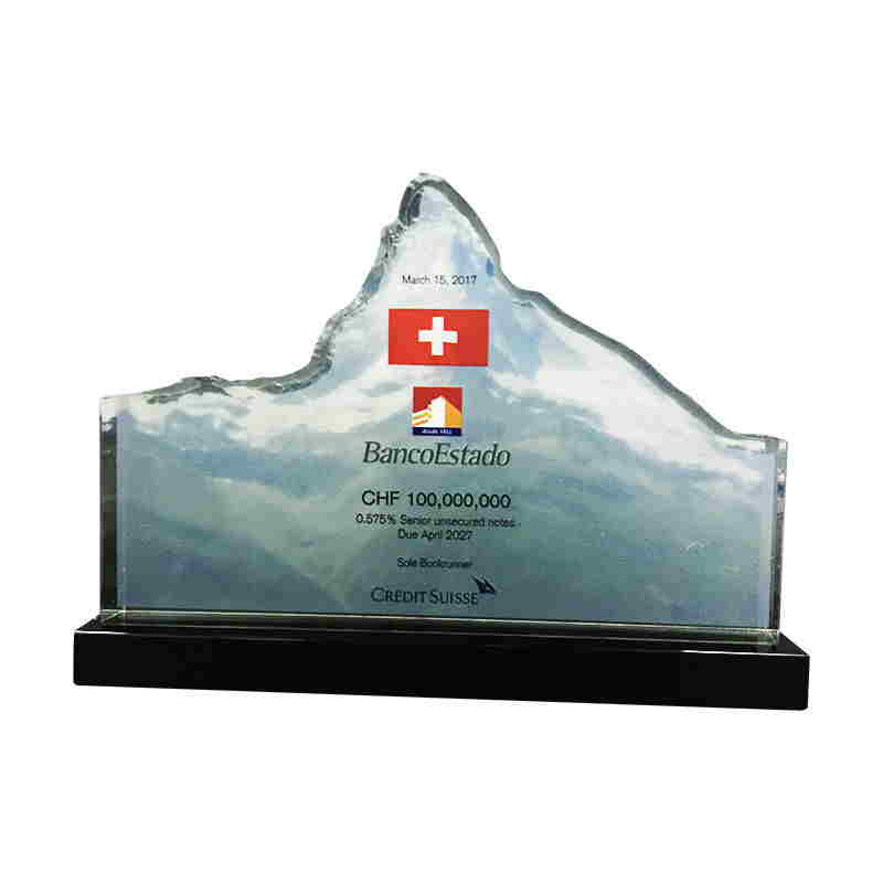Mountain-Themed Custom Crystal Award