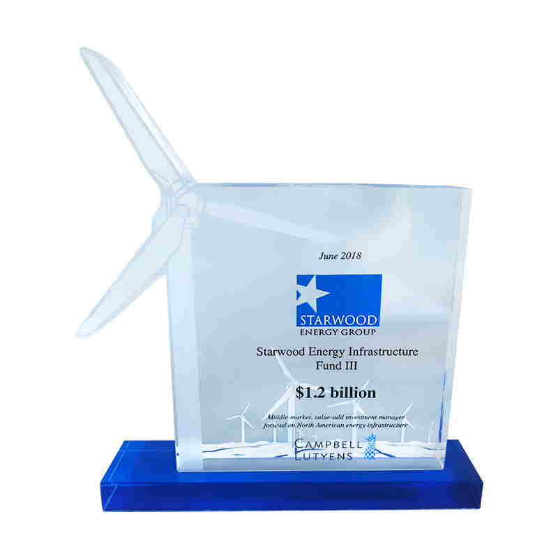 Wind Turbine-Themed Custom Crystal