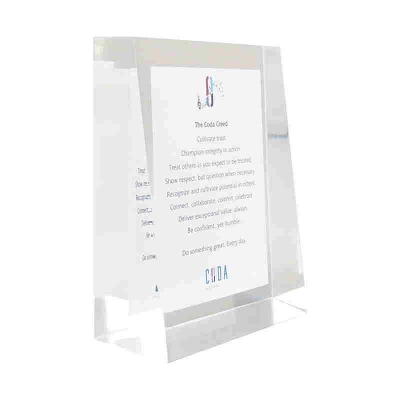 Custom Lucite Corporate Values Display