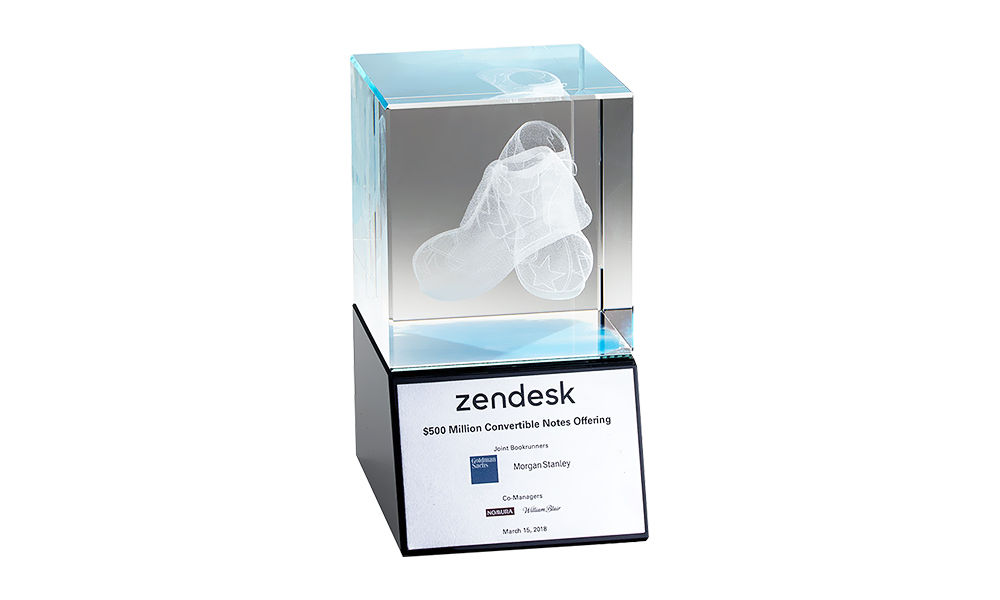 Zendesk Crystal Tombstone with 3-D Etching