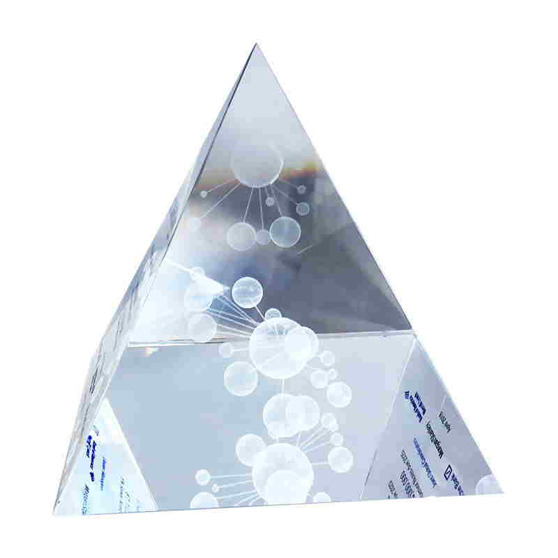 Crystal Pyramid with 3-D Laser Etching