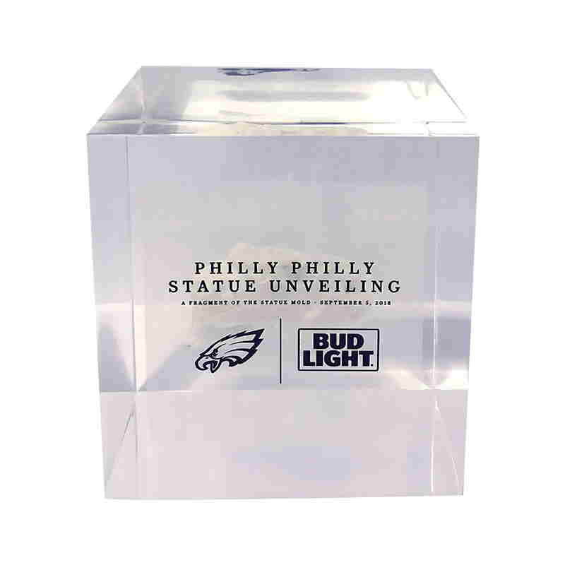 "Lucite Embedment Marking Unveiling of Super Bowl ""Philly Philly"" Statue"