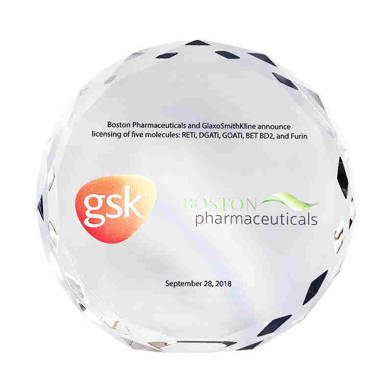 Custom Crystal Commemorative for Licensing Agreement