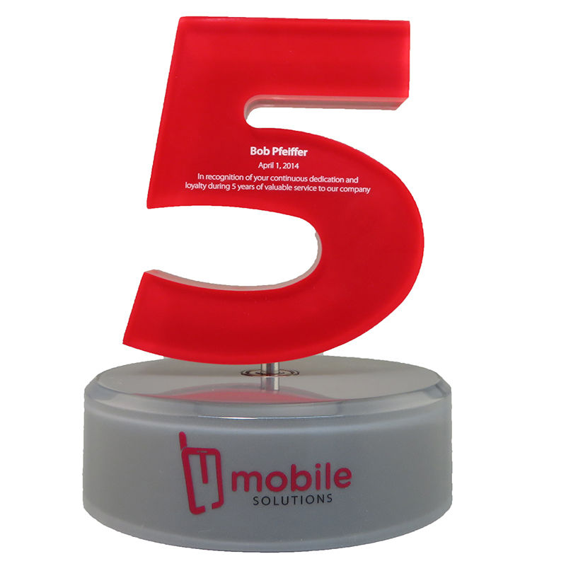 Custom Lucite 5-Year Service Award