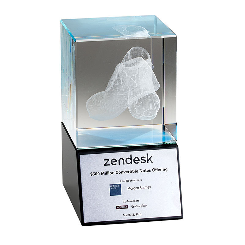 Zendesk Crystal Tombstone featuring 3-D Etching