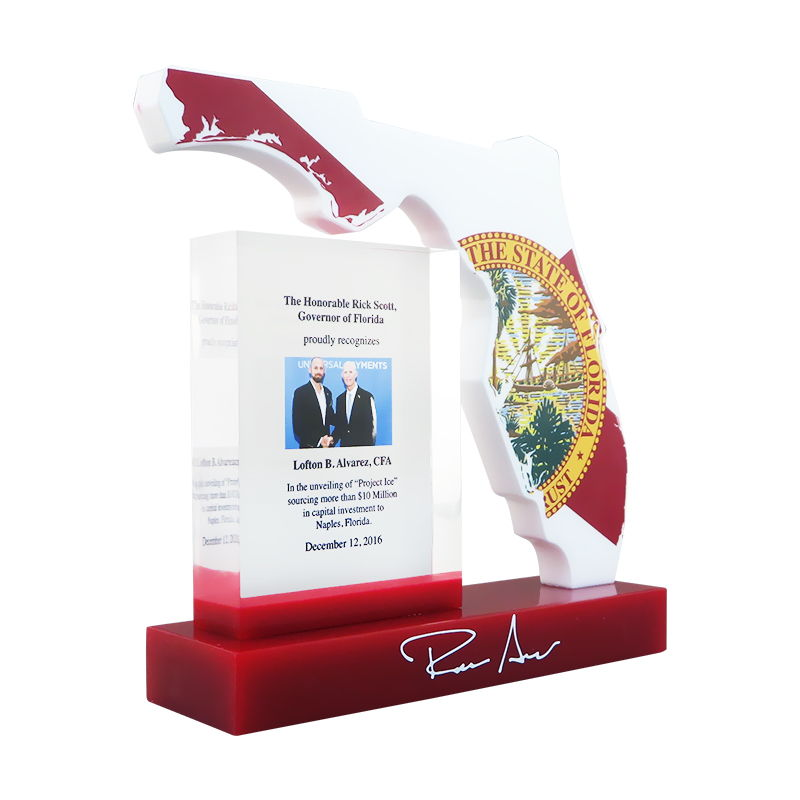 Florida-Shaped Lucite Award