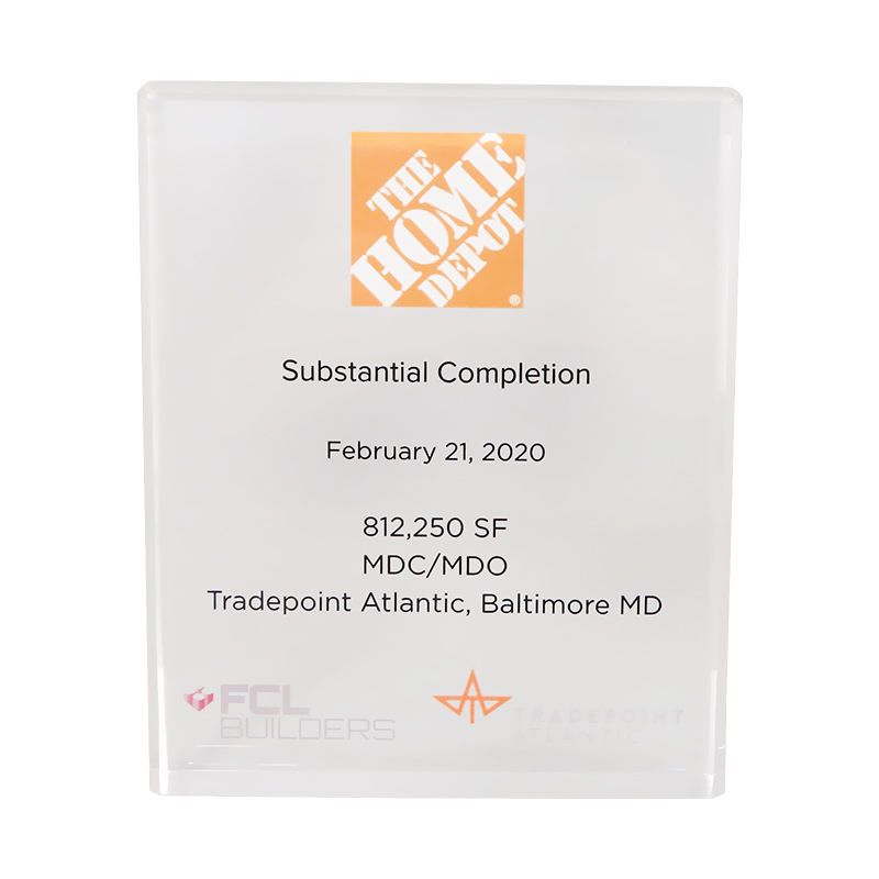 Lucite Commemorative for Home Depot Facility Completion