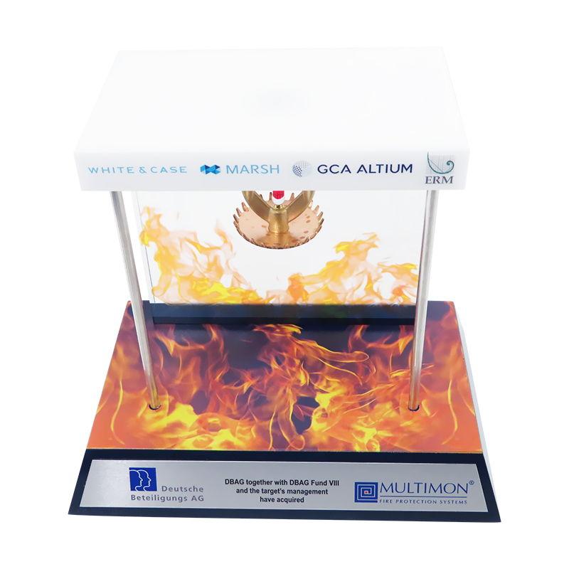 Fire Sprinkler-Themed Custom Lucite
