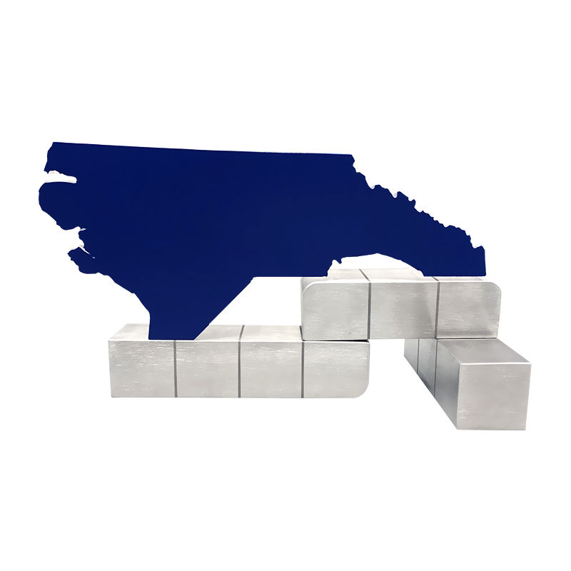 North Carolina Map-Themed Crystal Commemorative (Back View)